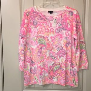 NEW TALBOTS Pink Paisley Floral thin sweater top M